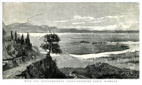 Βρετανικά πλοία εισέρχονται στο λιμάνι της Κέρκυρας.