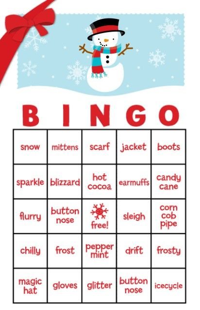 Snowman Family with Snowflakes Free Christmas Bingo Game