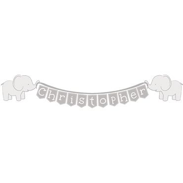 Grey Elephant Baby Name Wall Stickers £6