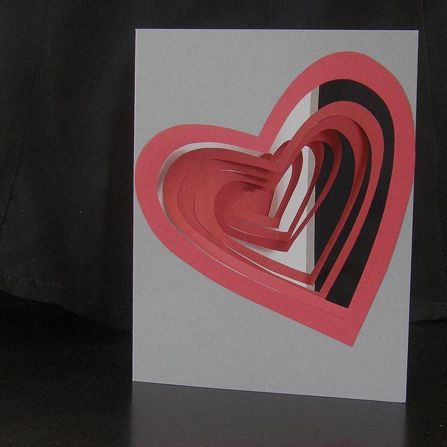 Spiral heart pop up card.