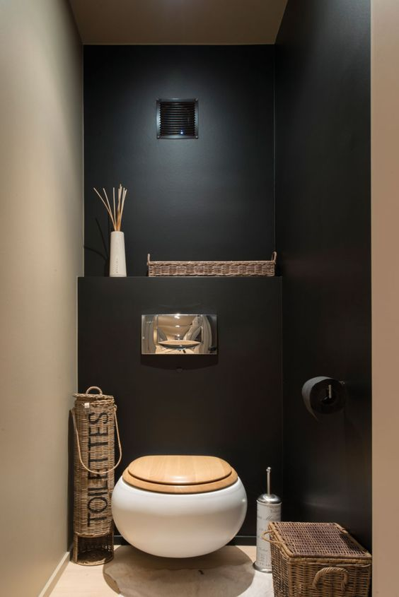 deco wc noir et bois. Black Bedroom Furniture Sets. Home Design Ideas