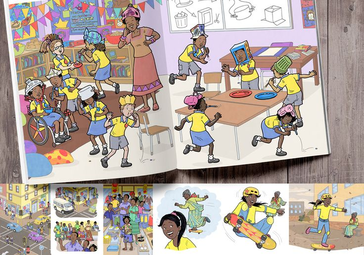 Take a look at the cast of quirky characters that we developed with the Pearson team for this HUGE reading series. We were so thrilled when we were chosen as the chief illustrators on this project back in March of 2014. We got to design the main characters, their pets, families, teachers, classrooms, bedrooms, homes, in fact the whole town of Vuma!! Sjoe-whee - it's been a lot of work and  a lot of fun too :)
