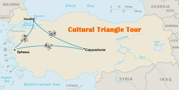 Cultural Triangle Tour Map - rough itinerary outline, but add pamukkale