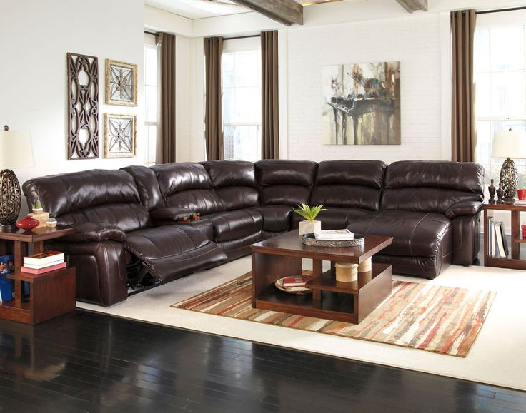 Gregory 6pcs Brown Leather Powered Recliner Sofa Couch Sectional