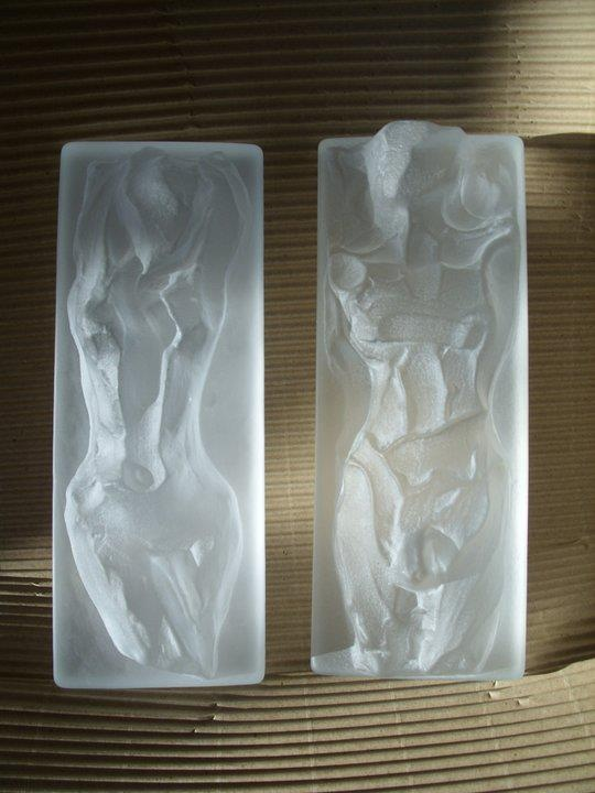 Glass sculpturs Fiona and Theo   designed by Lena Hautoniemi  for Magnor Glassverk Norway