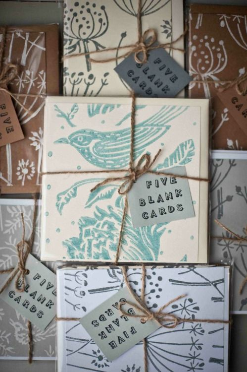 Cards  by Rachel Davies printed using patterned paint rollers