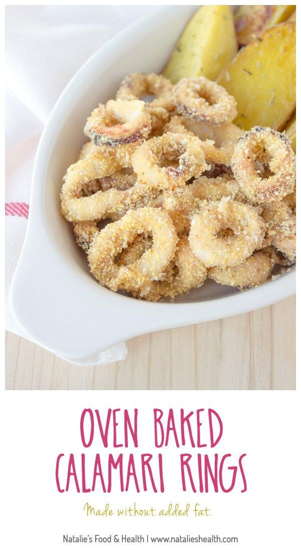 Crispy oven baked calamari rings prepared without added fat. Easy, simple and super healthy meal for the whole family. CLICK to read more, or PIN for later!