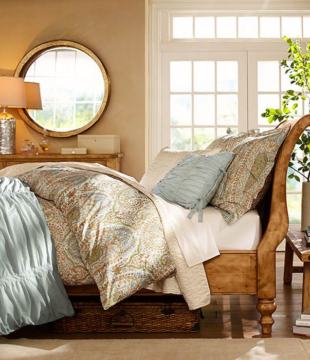 Create a bedroom that is a sanctuary for rest and relaxation. #potterybarn Nice and summery soft!