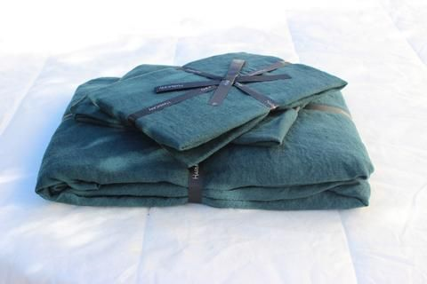 Harmony - Housse de couette en lin lavé Viti bleu de prusse - 100% lin lavé stone wash - Home Beddings and Curtains