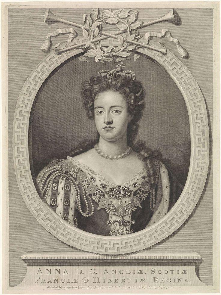 Pieter van Gunst   Portret van koningin Anna I van Engeland, Pieter van Gunst, 1702 - 1731   Anna Stuart, koningin van Engeland.