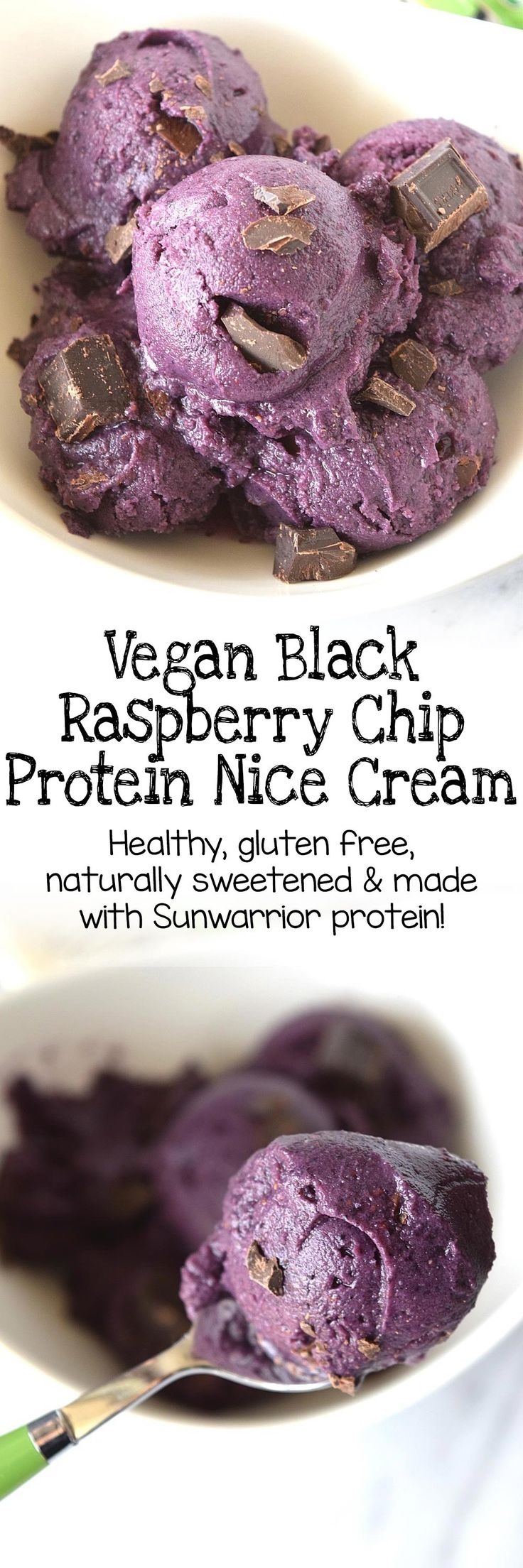 Vegan black raspberry chip protein nice cream is smooth, creamy, full of chocolate chunks and Sunwarrior protein! This would be a great smoothie recipe for breakfast, or an easy, healthy dessert with only natural sugar!