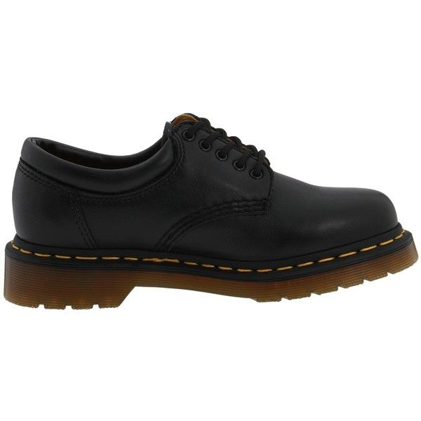 Dr. Martens 8053 (170 NZD) ❤ liked on Polyvore featuring shoes, flats, black nappa, black shoes, dr martens shoes, black slip resistant shoes, black flats and adjustable shoes