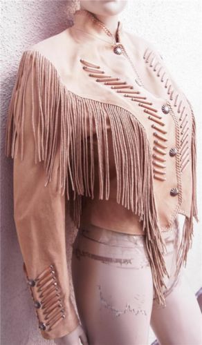 Women's Cripple Creek Wooden Indian Fringe Western Southwest Leather Jacket Sz M | eBay