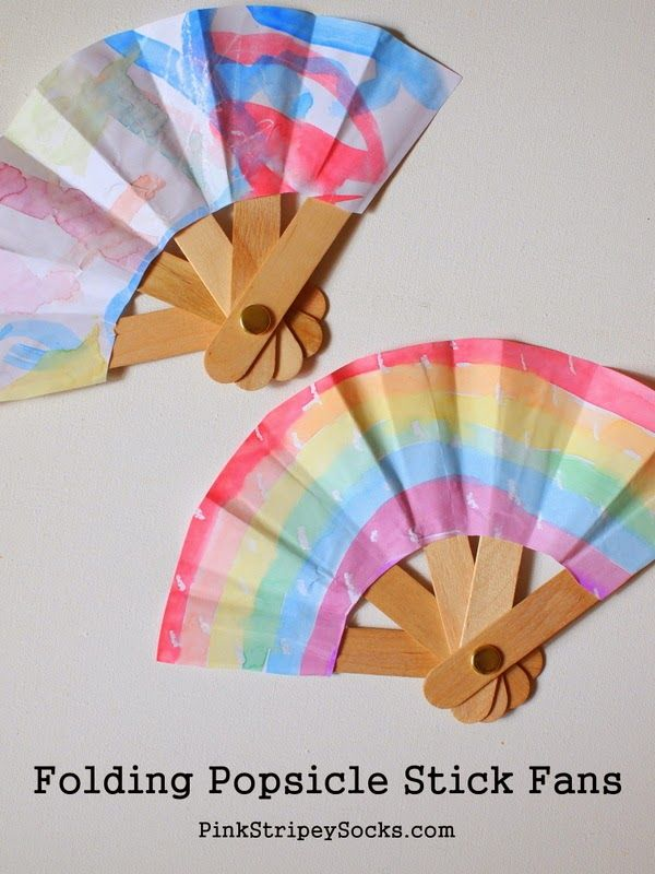 Make a folding popsicle stick fan! éventail