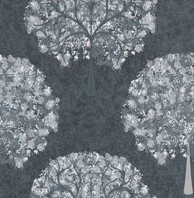 Impressions Silver (1944/909) - Prestigious Wallpapers - A beautiful and contemporary tree design in a painted effect. Showing in white and grey on silver foil - other colour ways available. Please request a sample for true colour match. Paste-the-wall product.