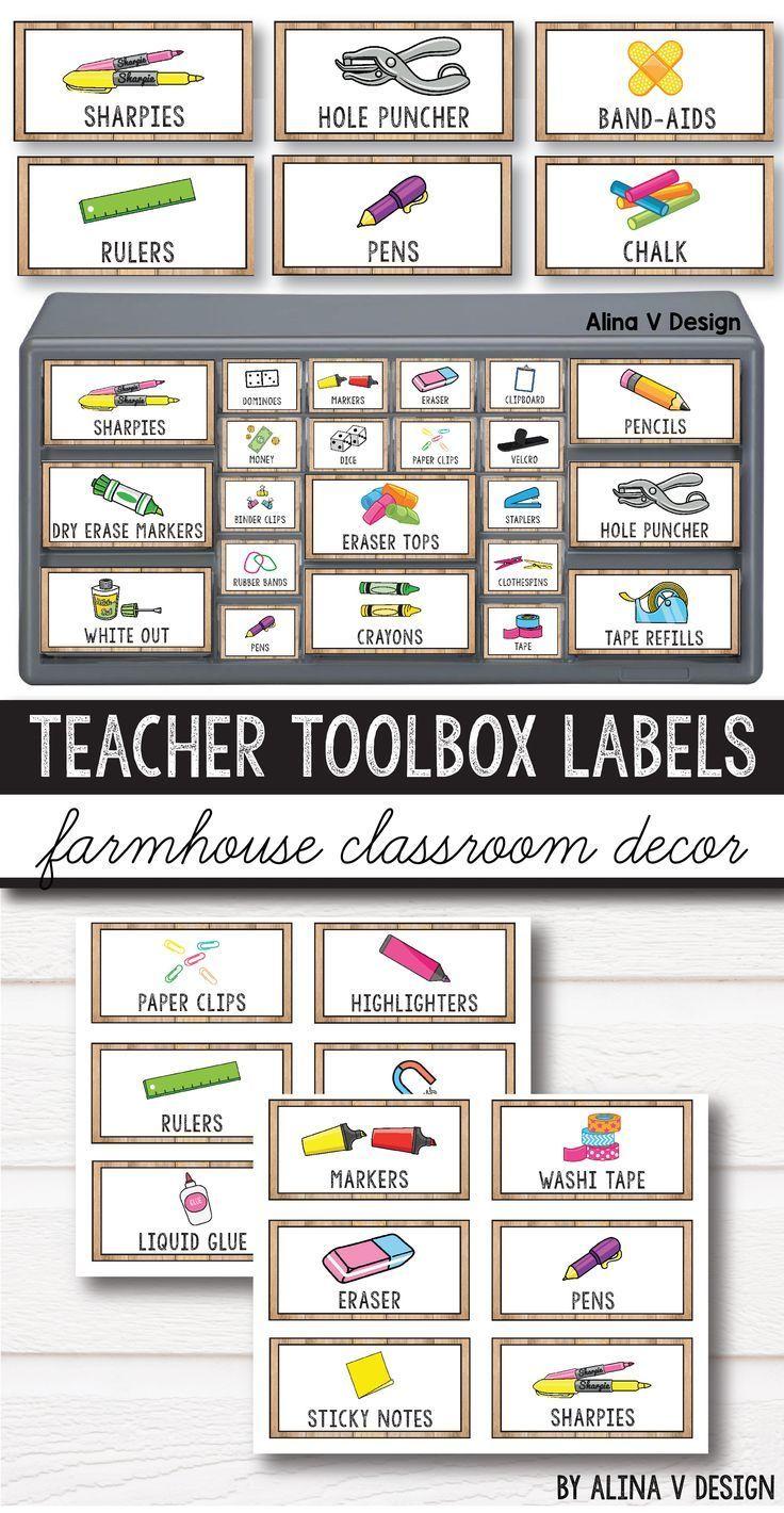 Teacher Toolbox Labels Editable Farmhouse Classroom Decor Teacher Toolbox Labels Teacher Toolbox Teacher Toolbox Labels Editable
