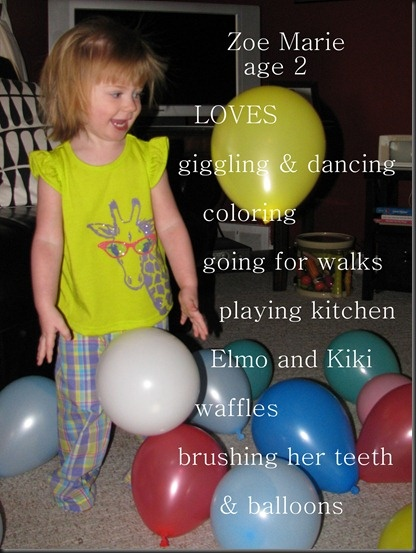 """2nd birthday picture - Love the idea of taking a cute picture from her birthday and adding text to go along with her favorites :)    Go back and do this for her first!?  Super cute!  Add this to the """"20 question"""" book..."""