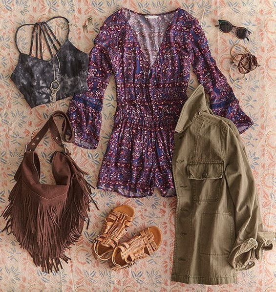 Bell Sleeve Romper at American Eagle Outfitters - Trendslove