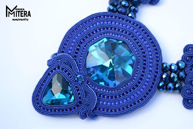 deep blue jewelry soutache crystal Preciosa
