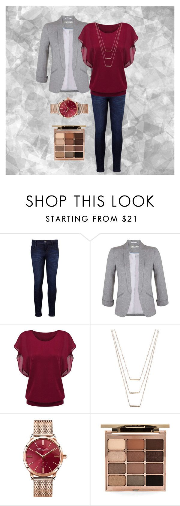 """""""Maroon-Red"""" by sr77 ❤ liked on Polyvore featuring Levi's, Miss Selfridge, ERTH, Thomas Sabo and Stila"""