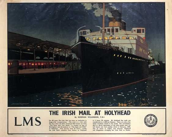 Irish Mail train at Holyhead.  Norman Wilkinson c. 1930. Boats always look romantic - especially at night. A famous marine painter, he designed posters for several railway companies and organised the Royal Academy series of posters for the London & Midlands Railway (LMR) in 1924.