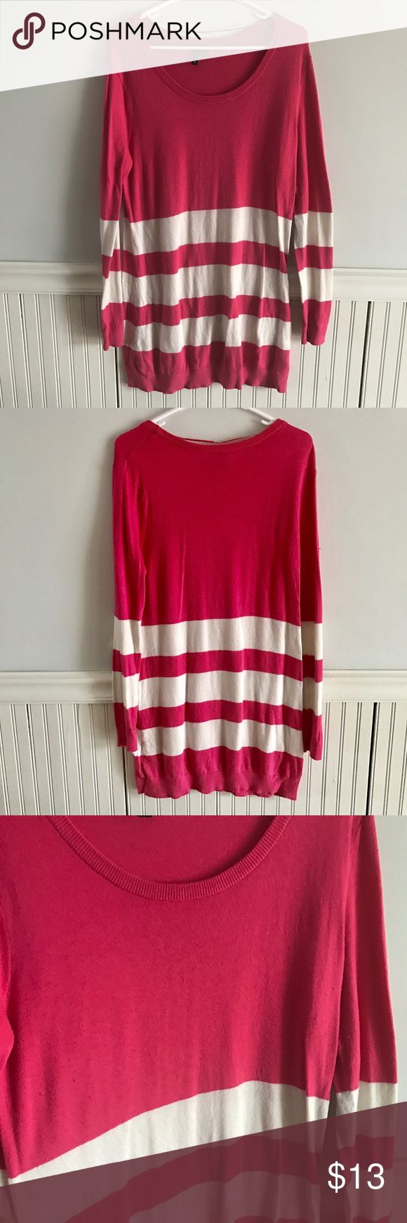 Long Striped Sweater Color is pink with white stripes. Long dress sweater. Dresses Long Sleeve
