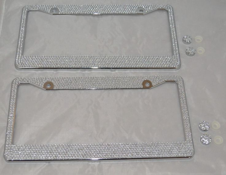 2 All White Silver Bling Glitter Crystal RhineStone License Plate Frame Car Auto in License Plate Frames | eBay