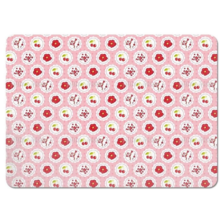 Uneekee Grannys Cherry Garden Pink Placemats (Set of 4) (Grannys Cherry Garden Pink Placemat) (Polyester)