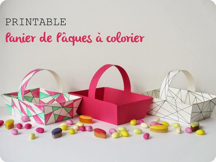 { Printable } Panier de Pâques à colorier / Colouring Easter basket