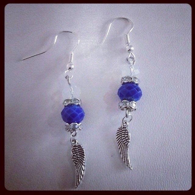 Angel wing beaded drops sterling silver hooks
