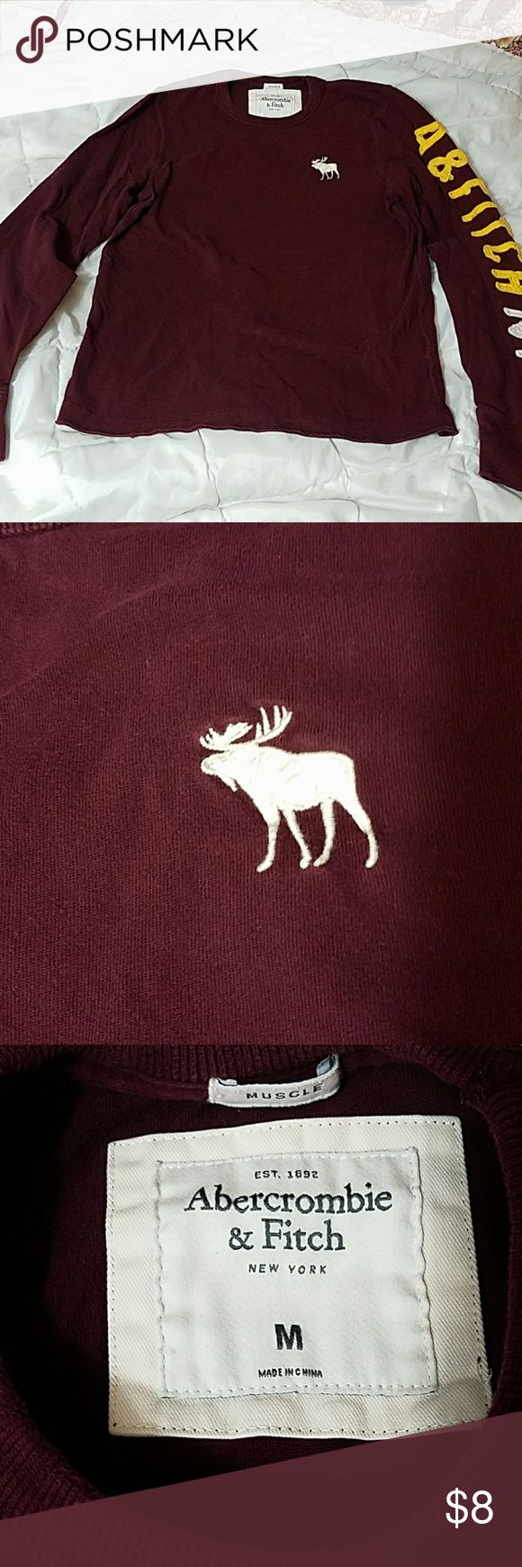 Men's Abercrombie and Fitch t-shirt Men's Abercrombie and Fitch long sleeve t-shirt, burgundy in color, comes from smoke free home Abercrombie & Fitch Shirts Tees - Long Sleeve