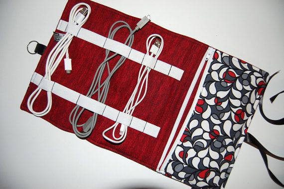 Cord Organizer Cord Caddy Cord Pouch Cable by Sewmuchfunstuff