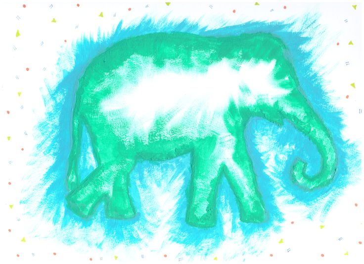 Elephant Dreams Now on Etsy! Description: Hand painted elephant with geometric shapes drawn around.
