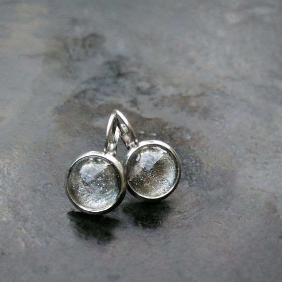 FOR CHRISTMAS PLEASE ORDER BEFORE: DEC 10 (EUROPE) / DEC 4 (NON-EUROPE)  These kids leverback earrings for sensitive ears feature handpainted cabochons with sparkling silver color so your stainless steel earrings will match any outfit of a young lady.  LISTING INCLUDES: a pair of earrings