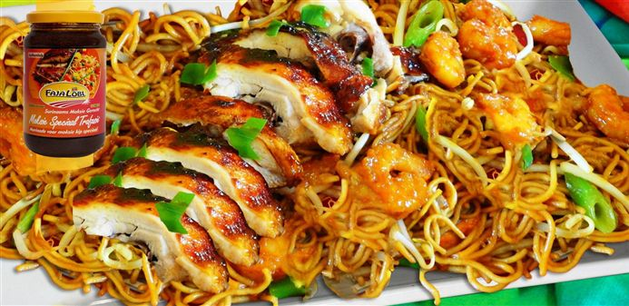 Surinaams eten – Chinese Tjauw Min met seafood en geroosterde kip