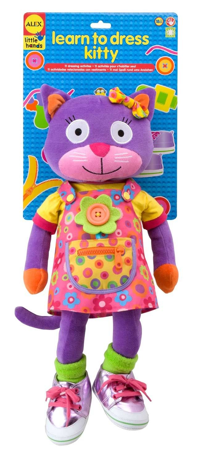 This pretty kitty doll is colorful and soft and will help to teach your child about getting dressed. They'll learn how to use buttons, how to tie bows and they'll even learn how to tie up shoelaces with Kitty's sneakers! Learn To Dress Kitty's dress and shoes are removable so your child can learn how to take them off and put them back on again in the correct way. Once Kitty is all dressed she makes a brilliant doll!