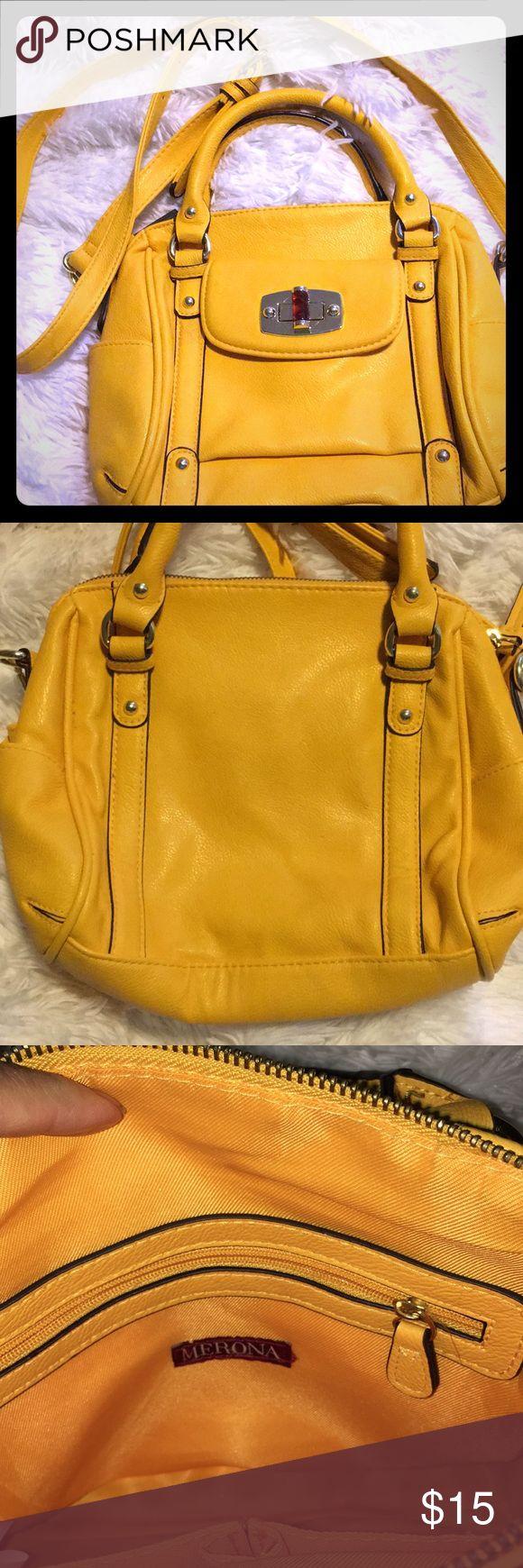 """Merona yellow Handbag/ crossbody 9""""X9 1/2"""" Merona Yellow Handbag/Crossbody In great preowned Condition Merona Bags Crossbody Bags"""