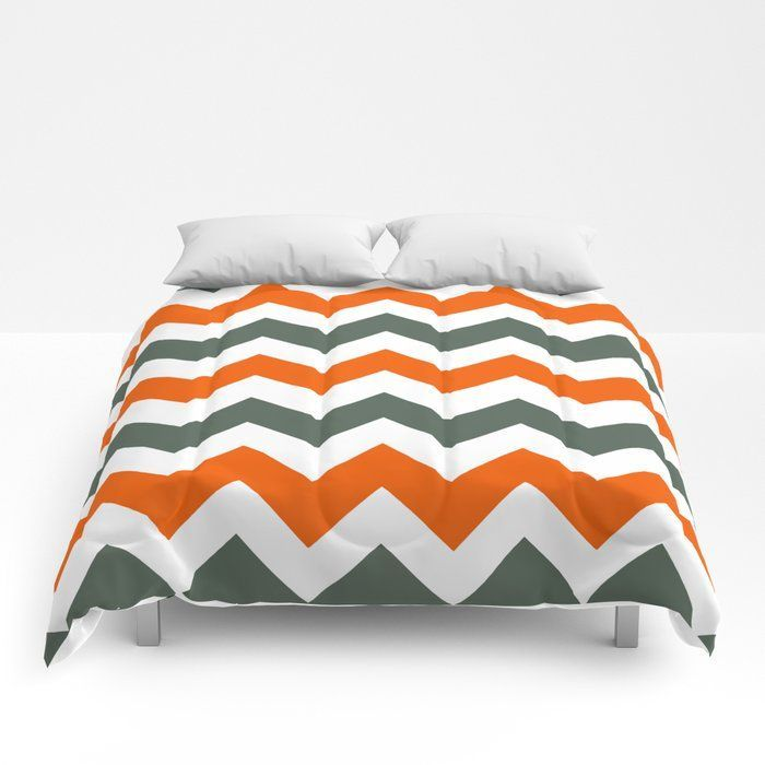 Chevronpattern In Russetorange Greyandwhite Comforters Take Your Bedding To The Next Level Availabl Grey And White Comforter White Comforter Duvet Orange