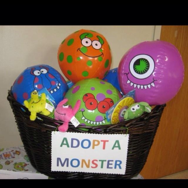 Favor basket for Brayden's first birthday monster bash :)