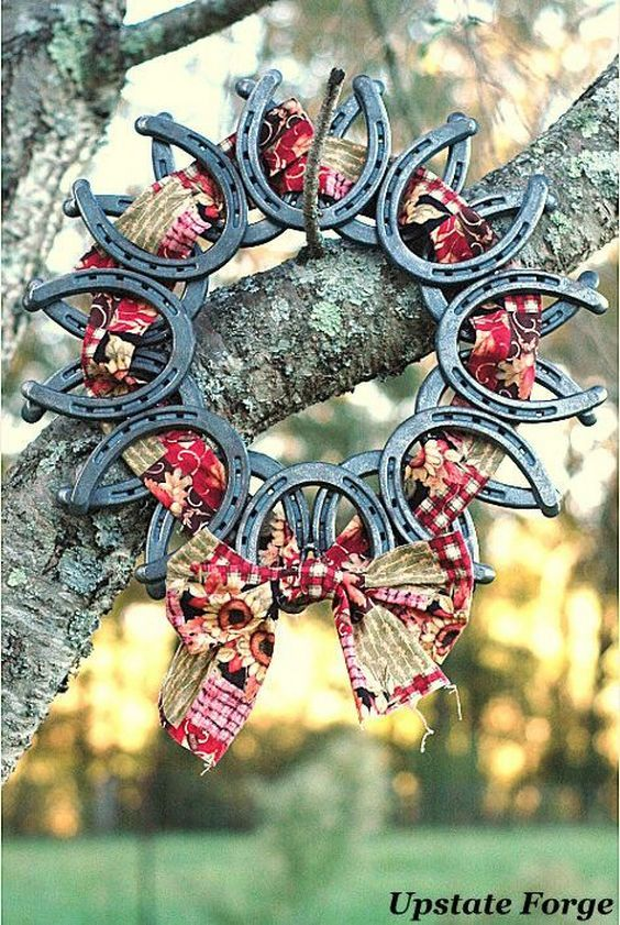 Horseshoe Wreath Ribbon & Bow / http://www.deerpearlflowers.com/rustic-farm-wedding-horseshoe-ideas/