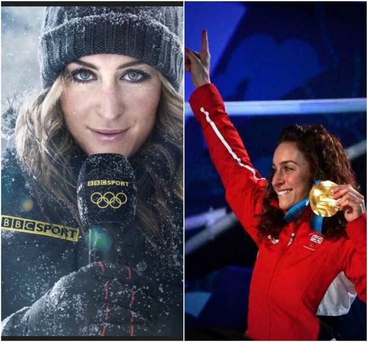 Amy Williams Left: Commentating with BBC. Right: Holding her Olympic Medal in Vancouver 2010