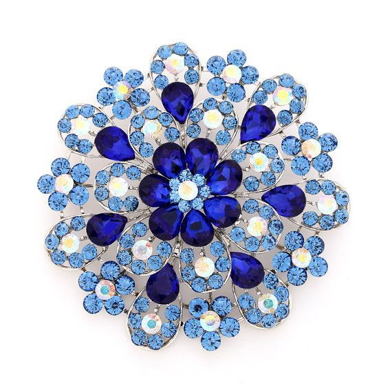 Large Blue Brooch, 3.75 inch Round Royal Blue Broach, Wedding Cake Brooch, Pillow Broach Decor, Rhinestone Sapphire Blue Broaches