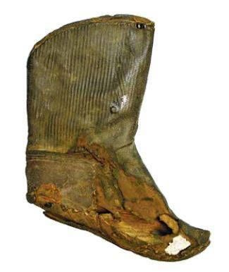 Coptic boot like these are popular in Christian times and are known from various sites in Egypt. Remarkably, many of the boots are for children. Ashmolean Museum, Oxford.