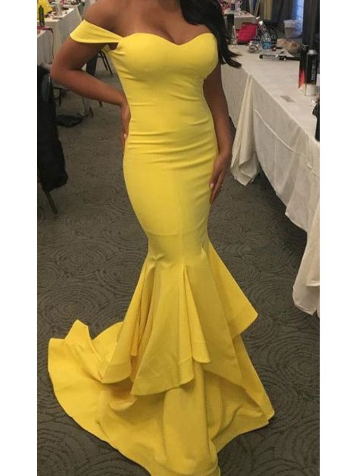 Mermaid Long Yellow Off-the-Shoulder Prom Dresses Party Evening Gowns 99602360