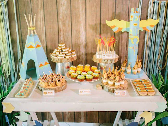Sweet Table Details from a Camp Rafa - Pow Wow 1st Birthday Party via Kara's Party Ideas | KarasPartyIdeas.com (16)