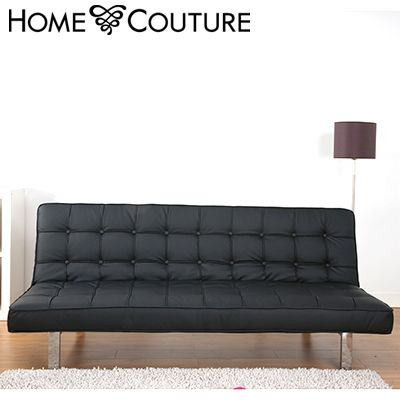Home Couture Click Clack Sofa Bed - Spacious 3 Seater Sofa & Bed with Stainless Steel Legs - PU & PVC Leather - Black
