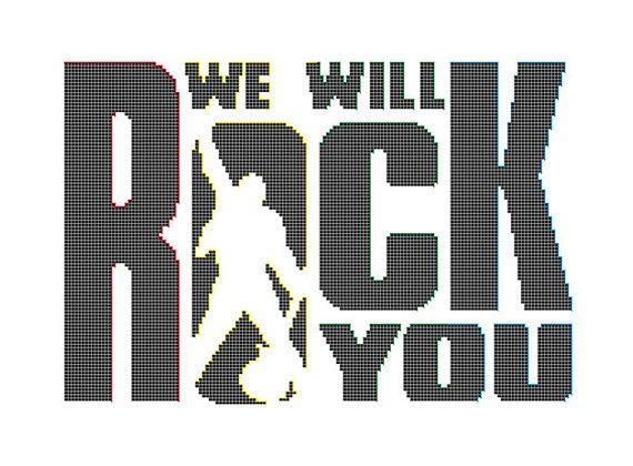 We Will Rock You Cross Stitch Pattern Queen Band Logo Rock Music Cross Stitch…