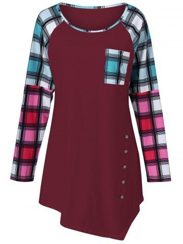 GET $50 NOW   Join RoseGal: Get YOUR $50 NOW!http://m.rosegal.com/plus-size-t-shirts/raglan-sleeve-plaid-plus-size-969875.html?seid=7806107rg969875