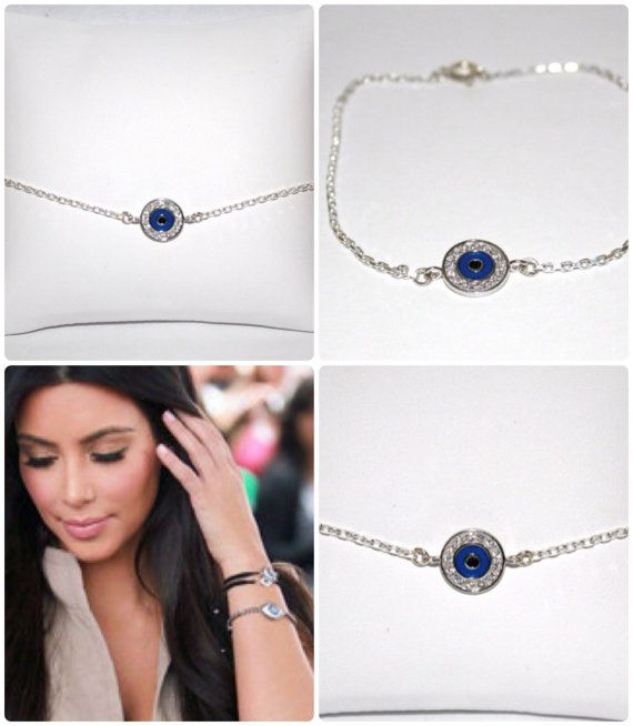 Dark Blue Evil Eye Bracelet Gold By Minibelle