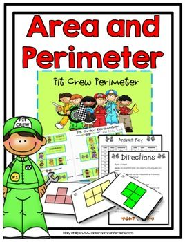 "This game is called ""Pit Crew Perimeter... and Area, too"". It's a game with a racing/pit crew theme. It's a fun area and perimeter game that your students will enjoy playing. It will work perfectly as a math center or partner math activity. In this game, students draw cards to move around the pit crew themed game board."
